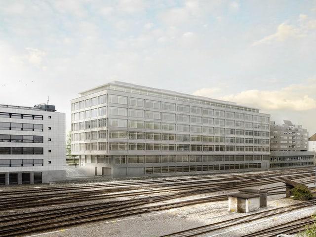 Das Bild zeigt ein Modell des Laborneubaus der Universität Bern.