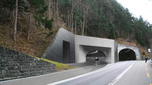 Visualisierung der neuen Axenstrasse.