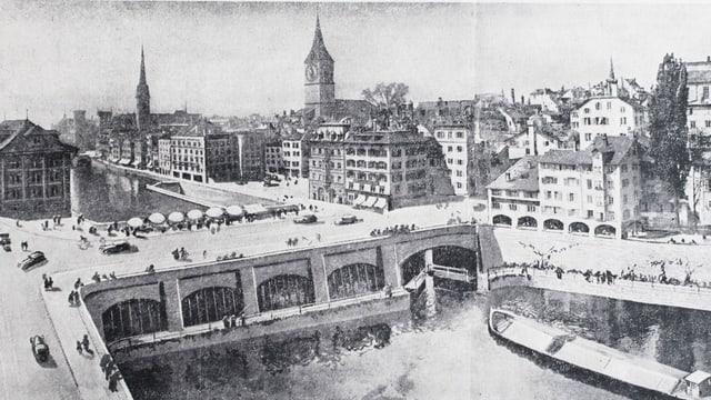 Ein bombensicheres Kraftwerk und eine Schiffsschleuse in der Rathausbrücke: Ein Plan für einen Hafen in Zürich.