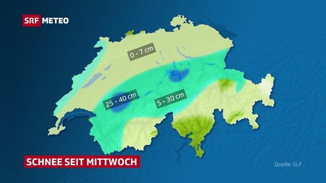 Eine Karte zeigt, dass an den Voralpen am meisten Schnee liegt.