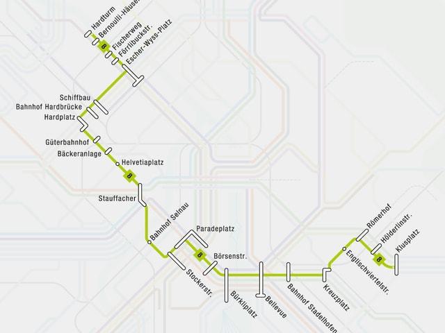 Die neue Linienführung der Tramlinie 8 in der Stadt Zürich