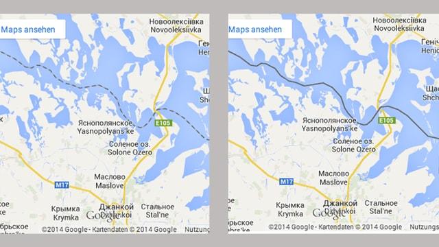Zweimal Google Maps, die Krim, einmal für Russen, fette Grenzlinie, einmal für den Rest der Welt, gestrichelte Linie.