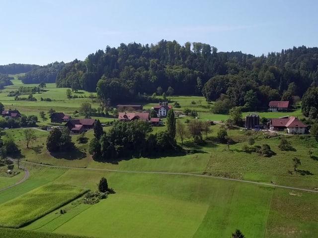 Luftaufnahme vom Gehöft.