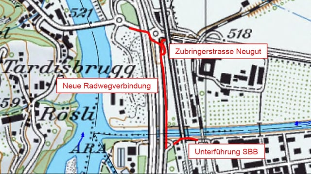 Ina charta geografica cun la ruta exacta.