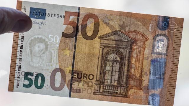 La nova nota da 50 euros è pli segir cunter sflsificaziuns.