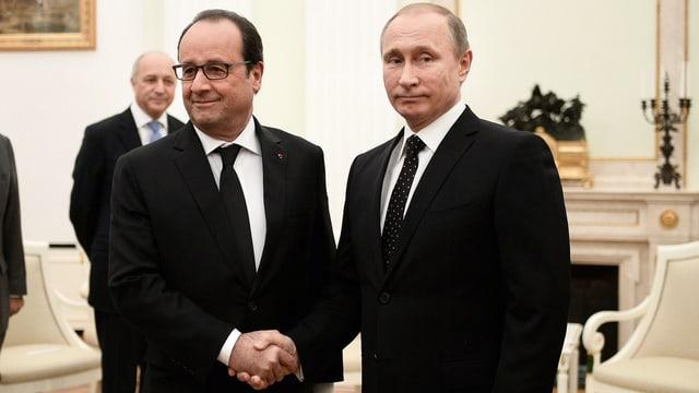 Hollande und Putin reichen sich die Hand, sehen sich dabei aber nicht an. Putin verzieht das Gesicht.