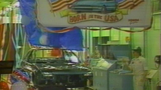 Autofabrick mit Schild «Born in the USA»