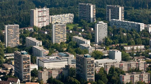 Blick von oben auf die Stadt Bern.