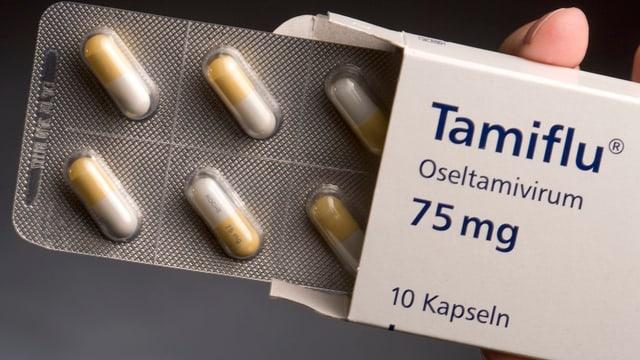 Eine Packung des Grippemittels Tamiflu.