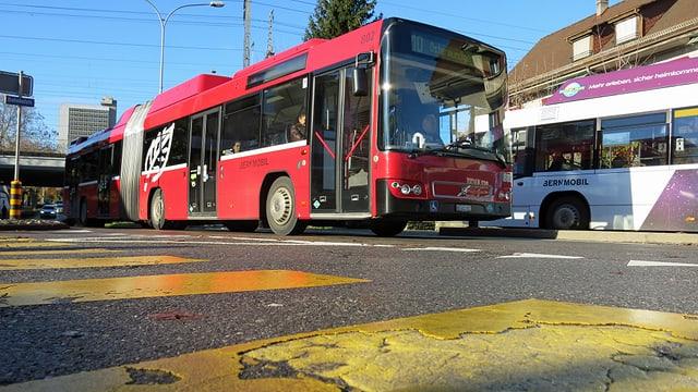 Zwei Busse kreuzen sich.