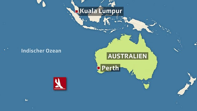 Ein Grafik mit einer Karte zum Absturzort des verschollenen Flugzeugs.