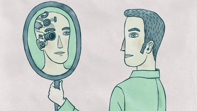 Eine Illustration zeigt einen Mann, der im Spiegelbild einen Cyborg sieht.