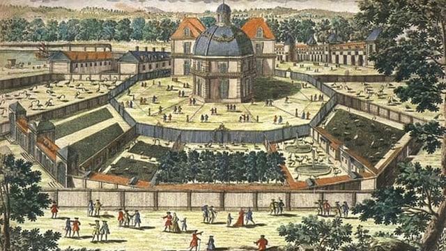 Gemälde einer grossflächigen Sicht auf die Menagerie in Versailles.