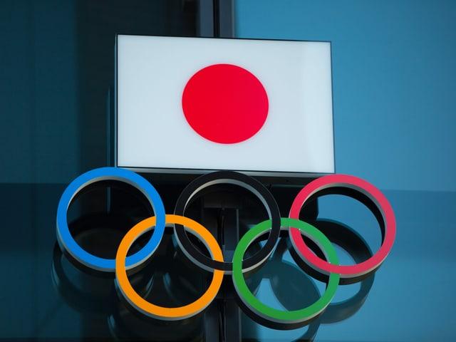 Japan-Flagge und Olympische Ringe