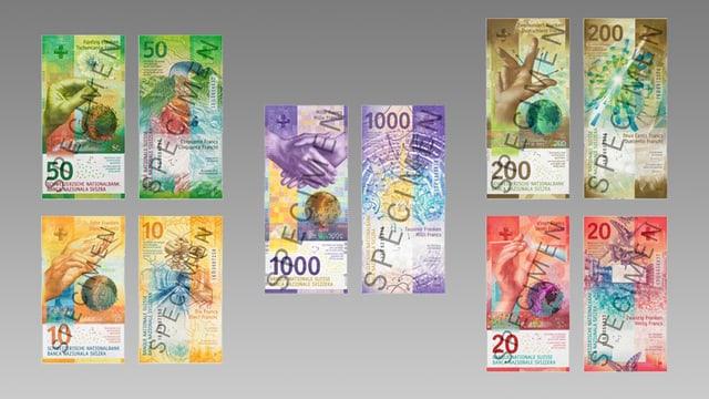 Mit dem Aufdruck «Specimen» versehene Kopien der bisher erschienenen Schweizer Banknoten der 9. Serie.