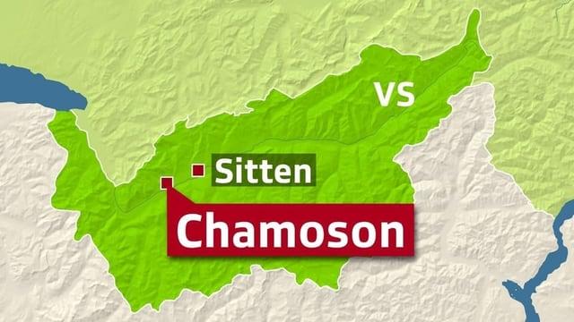 Chamoson sa chatta tranter Sion/Sitten e Martigny/Martinach.