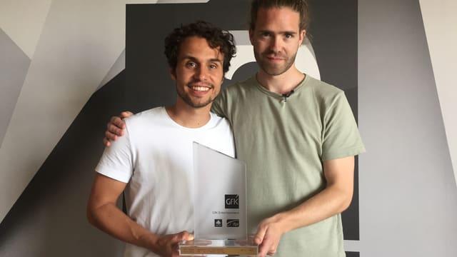 Leduc (links) und Lo nehmen im SRF 3-Studio den Hitparaden-Spezial-Award entgegen.