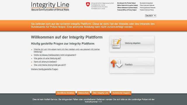 pagina d'internet per annunziar corrupziun.