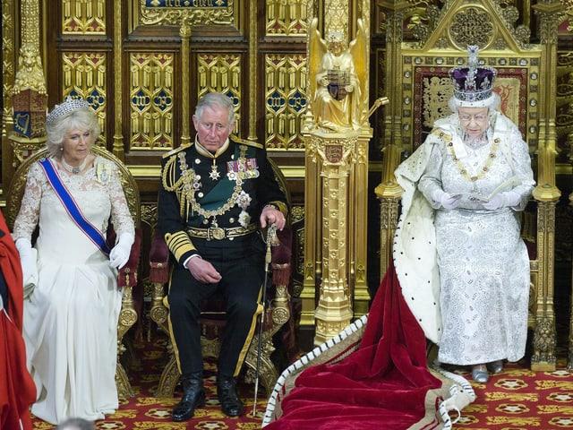 Queen während der Thronrede. Neben ihr: Prinz Charles und dessen Frau Camilla.