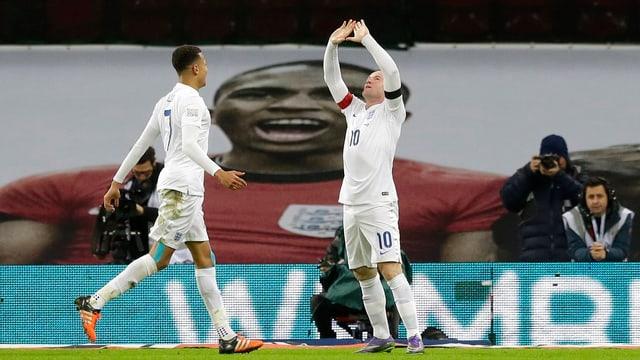 Rooney und Ali bejubeln ihre Tore.