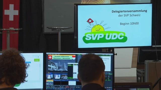 Zu sehen Techniker an der SVP-Online-Delegiertenversammlung.
