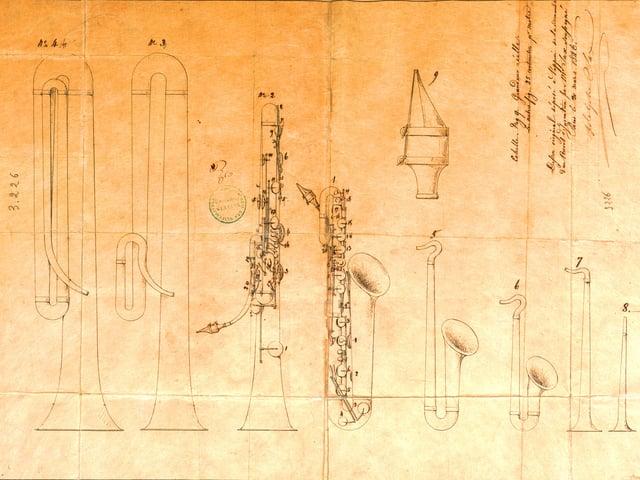 zeichnungen der Instrumente.