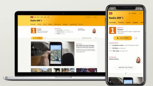 Bild der neuen SRF 1-Radioseite.