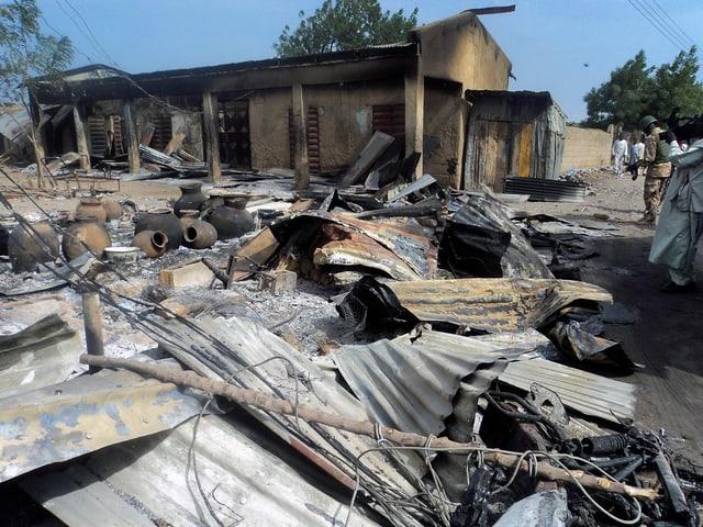 Zerstörung nach einem Boko-Haram-Angriff