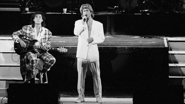 George Michael ed Andrew Ridgeley da WHAM! durant in concert a Peking il 1985.