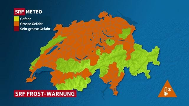 Schweizerkarte, auf der im Flachland im Norden und in den Alpentälern verbreitet vor Frost gewarnt wird, Stufe 2/3 in orange.