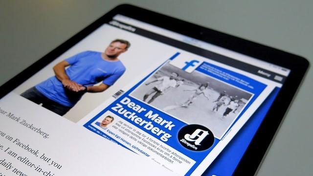 Ipad mit der Frontseite einer norwegischen zeitung mit einem brief an Mark Zuckerberg.