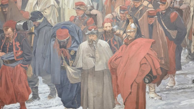Soldaten in Mänteln auf Gemälde