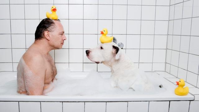Ein Mann und ein Hund sitzen in einer Badewanne. Sie haben beide eine Gummiente auf dem Kopf. Auf dem Badewannerand hat es nochmals zwei Gummienten.