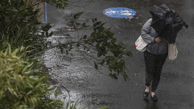 Purtret d'ina dunna che tegna in parasol enta maun.