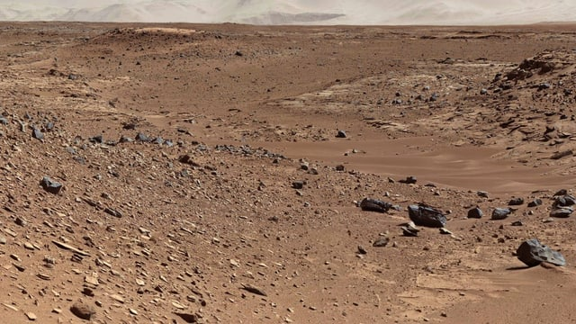 Diese Aufnahme der Nasa von Ende Januar 2014 zeigt Marsgesteine in einem Dünental.