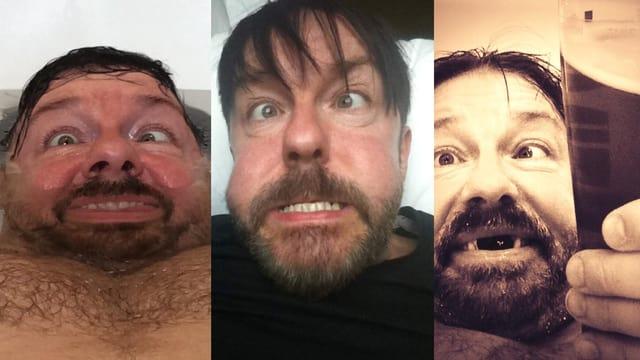 Der Britische Komiker Ricky Gervais in unvorteilhaften Selbstaufnahmen