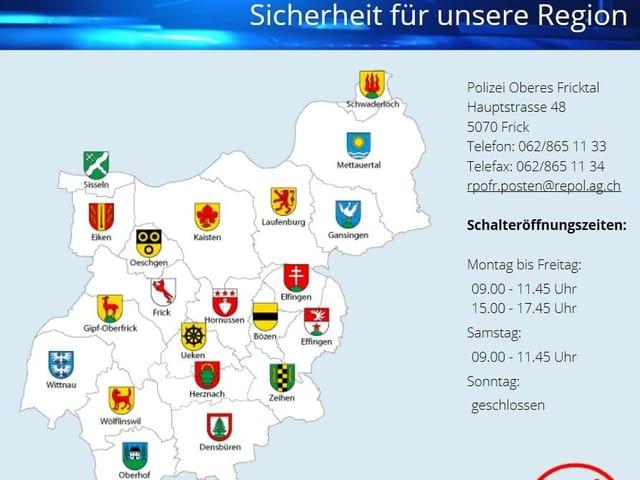 Website der Regionalpolizei Oberes Fricktal mit 21 Gemeinden