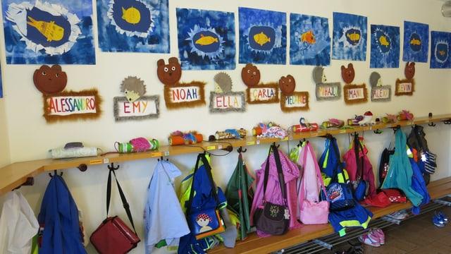 Die Garderobe des Kindergartens mit Bänkli, Bildern, Jacken und Namensschildern.