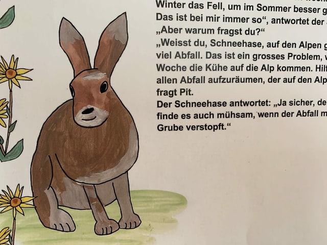 Gezeichneter Schneehase und Text in einem Bilderbuch.