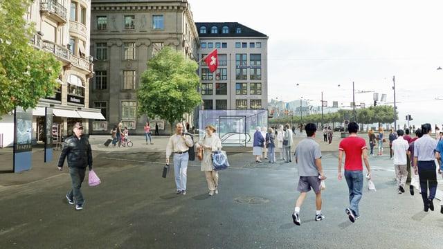 Visualisierung eines Platzes mit Leuten mit einem geplanten Metroeingang.