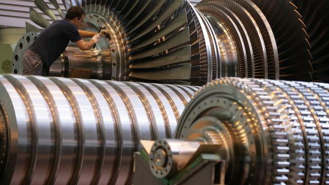 Turbinen in einer Fabrik von Alstom.