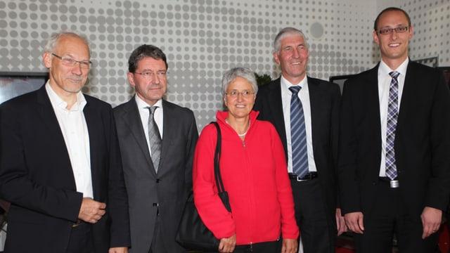 Ils elegids 2011 per il cussegl naziunal: Josias Gasser (PVL), Heinz Brand (PPS), Silva Semadeni (PS), Hansjörg Hassler (PBD) e Martin Candinas (PCD).