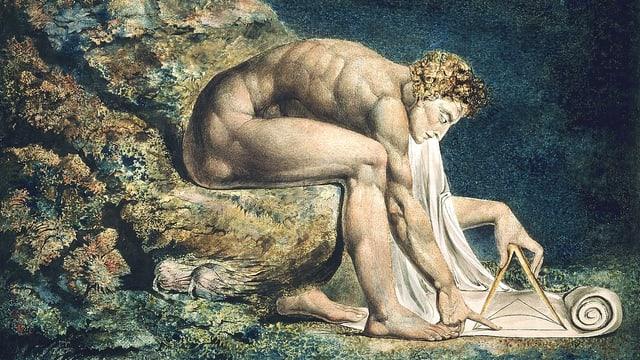 Zeichnung eines nackten Mannes, der auf einem Stein sitzt und vornübergebeugt am Boden etwas skizziert.