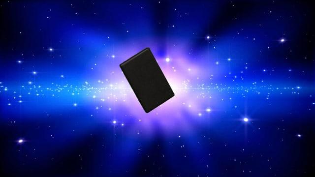 Bild Universum mit einer schwarzen Holzplatte in der Mitte.