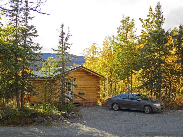 Blockhütte im Wald.