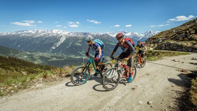 Mountainbiker auf einer Forststrasse im Aufstieg.