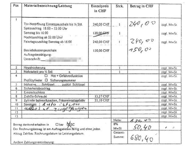 Ausschnitt aus einem Rechnungsformular von Hand ausgefüllt.