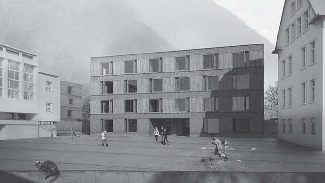 Visualisierung des geplanten Schulhauses.