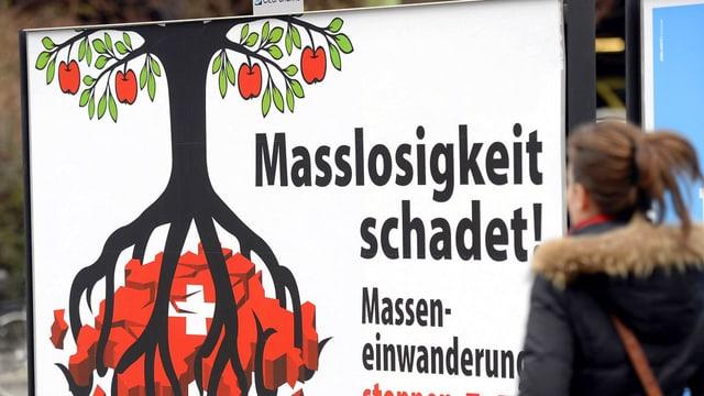 Eine Passantin geht am Plakat der SVP für die Masseneinwanderungsinitiative vorbei. Das Plakat zeigt einen blühenden Baum, dessen Wurzeln die Erde in Form der Schweiz zerbröckeln.