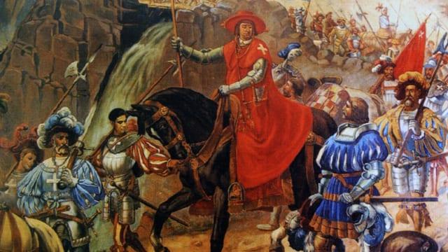 Der in Rot gekleidete Schiner auf dem Pferd in einer Schlacht